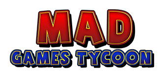 Red and blue logo of Mad Games Tycoon